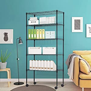 """XXFBag 5 Tier Wire Shelving Unit with Wheels Metal Storage Shelves NSF Wire Shelf Adjustable Layer Rack for Pantry Closet Kitchen Laundry Organization in Black,14""""Wx30""""Dx60""""H"""