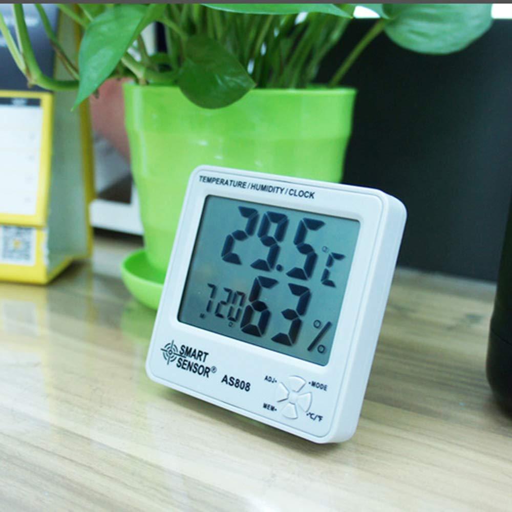 Portable Digital LCD Display Temperature Humidity Meter with Calendar Alarm Clock -50℃-70℃ Measuring Range ℃//℉ Conversion Digital Hygrometer Thermometer