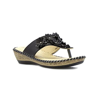 1ea6ae76d8f984 Softlites Womens Black Toe Post Sandal with Flower - Size 9 UK - Black