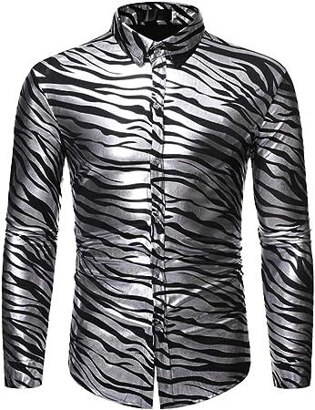 LISILI Camisa De Hombre Club Nocturno Brillante Dorado Patrón De Onda 3D Impreso Ajustado Manga Larga Abotonar Partido Camisa De Vestir,Plata,M: Amazon.es: Hogar
