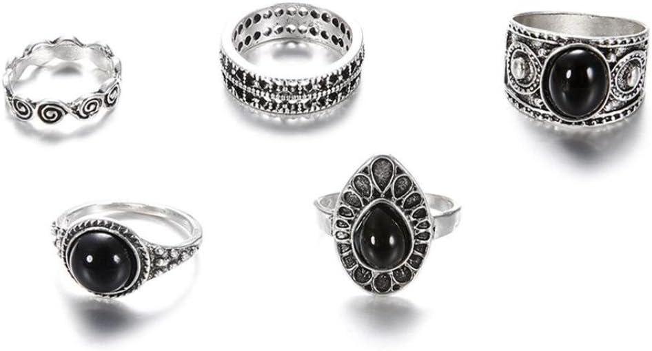 OldSch001 Anillo para mujer, diseño vintage, ovalado, color negro ...