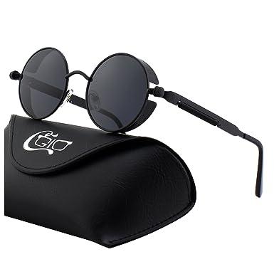 Retro Sonnenbrille,Steampunk Stil, runder Metallrahmen,für Frauen und Männer