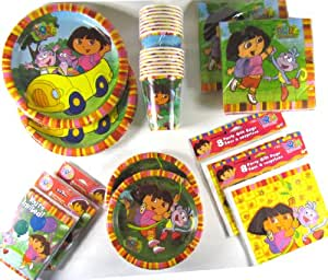 """Dora the Explorer 16 Guest Birthday Party Supplies Kit (112 Piece Value Pack; 6 Different Items) - 16 Dora Lunch Napkins, 16 Dora Paper Dinner Plates (9""""), 16 Dora the Explorer Paper Cups (9 Oz), 16 Dora Desert Plates (7""""), 16 Dora Goodie Bags, 16 Dora Birthday Party Invitations, and 16 Dora Thank You Notes"""