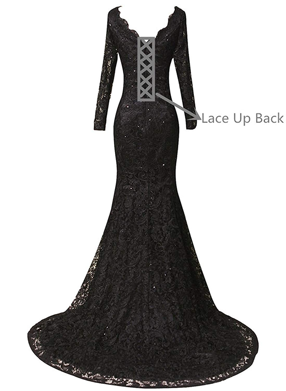 97742ec44b 20KyleBird Women s Elegant V-Neck Mermaid Lace Prom Dresses Long Sleeves  Beaded Evening Party Formal Gowns KB095 at Amazon Women s Clothing store