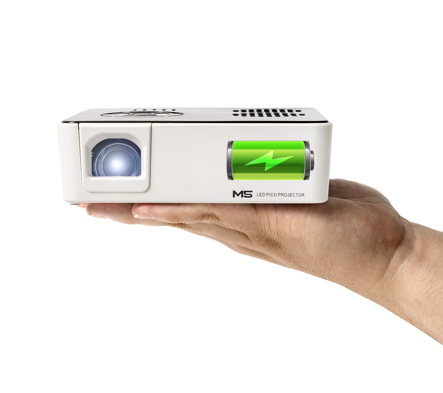 AAXA M5 Mini Portable Business Projector with Built-in Rechargeable Battery, 900 Lumens High Brightness, Native WXGA HD Resolution, Onboard Media Player, 20,000 Hours LED