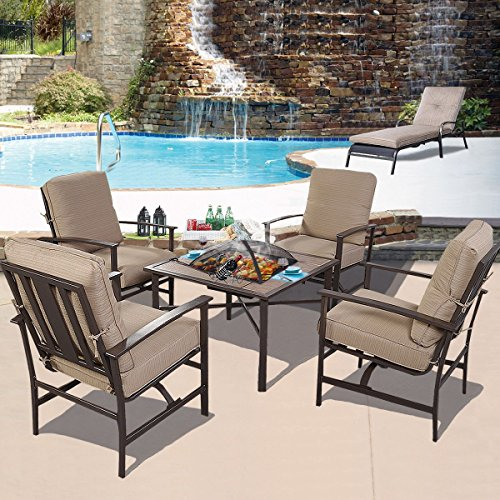 4 seater patio steel set bbq garden poolside cushioned for Outdoor furniture 4 seater