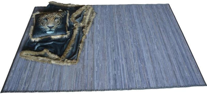 Casiopea en Gris Celeste 200 X 300 cm Natur Hogar y M/ás Alfombra de Sal/ón o Comedor de Bamb/ú Natural 200x300