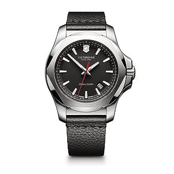 Victorinox Swiss Army Mens I.N.O.X. Stainless Steel Swiss-Quartz Watch with Leather Calfskin Strap,