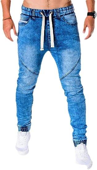 YYG メンズ クラシック ドローストリング スリム フィット ストレッチ 伸縮性 ウエスト ウエスト ジョガー カーゴ デニム パンツ ジーンズ
