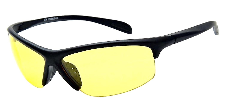 4e9984fa8f0 Half Frame Sport Wrap Yellow HD Night Driving Glasses Sunglasses ...