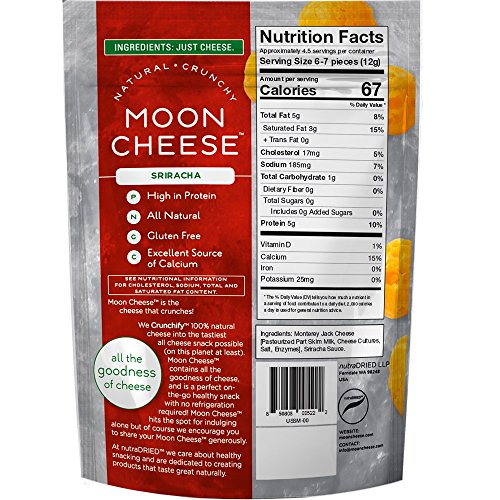 Moon Cheese 2 OZ, Pack of Five, Assortment (Cheddar, Gouda, Pepperjack, Mozzarella, Sriracha), 100% Cheese and Gluten Free by Moon Cheese (Image #5)