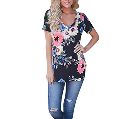 6ba66d5464b2 KaloryWee Sale Clearance Women Summer Floral Printed Round Neck Short Sleeve  T-Shirt Ladies Casual