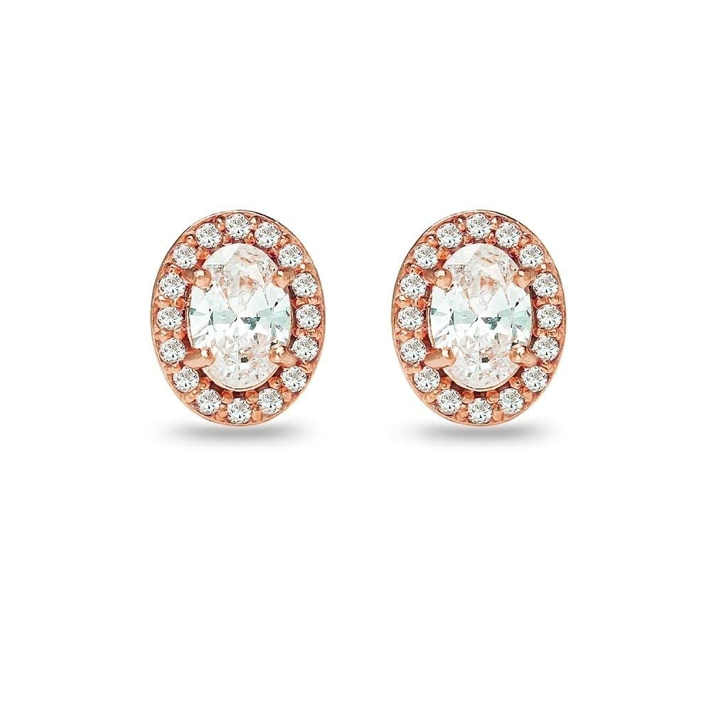 Shakti Jewels 925 Silver Rose Gold Over Oval /& Round Cubic Zirconia Solitaire W//Accents Stud Earrings