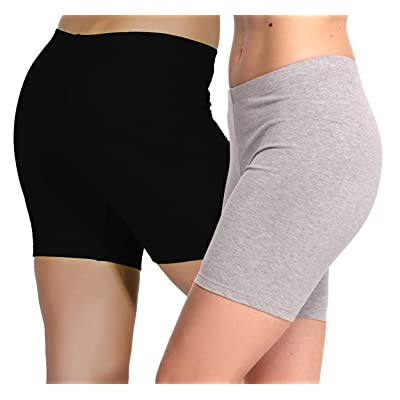 2 Pack Women's Cotton Basics 5 Inch Bike Workout Short