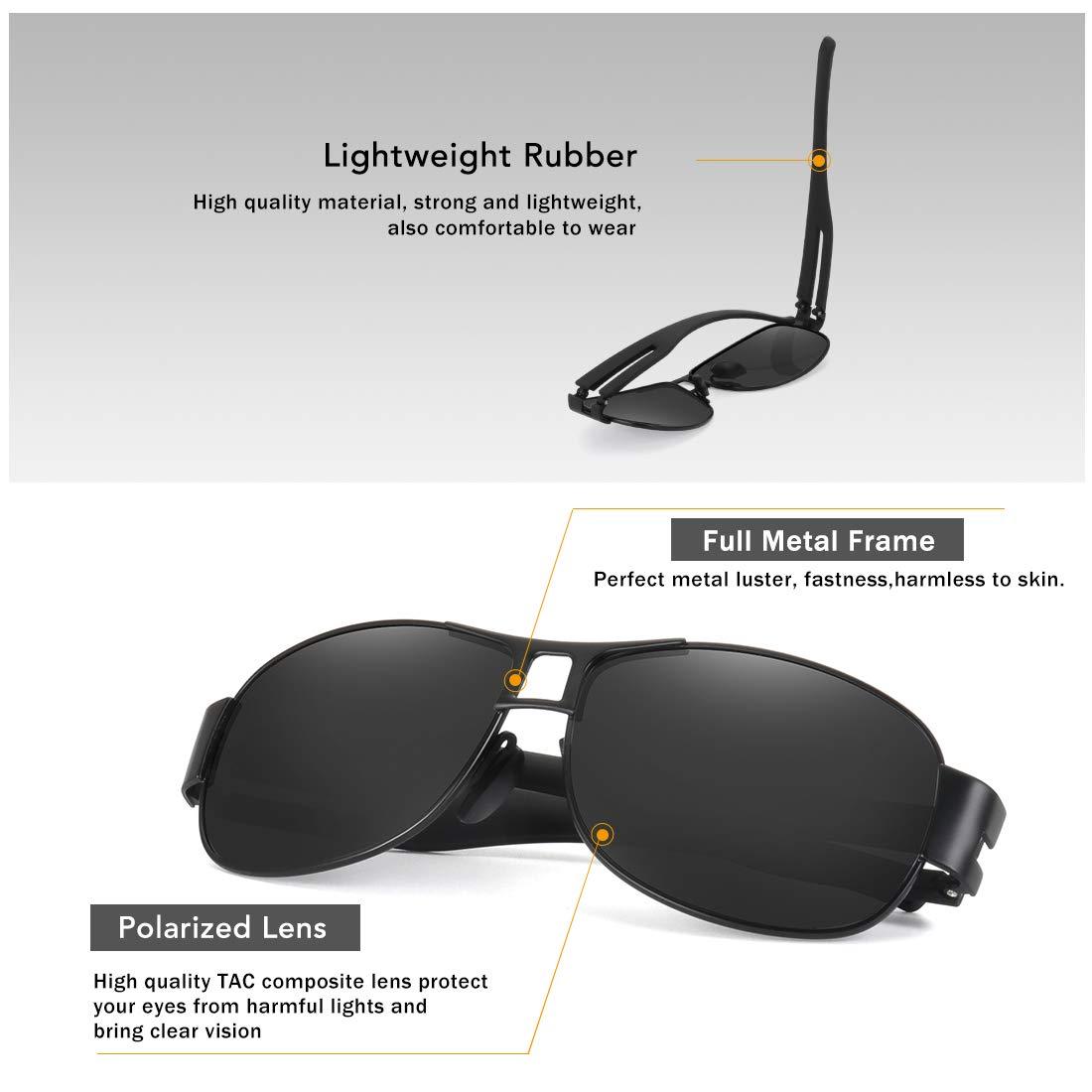 WOWSUN Classic Aviator Military Polarized Driving Sunglasses For Men | Ultralight Alloy Frame with 100% UV400 Protection (Black Lens Black Metal Frame)