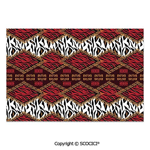 (SCOCICI Place Mats Set of 6 Personalized Printed Non-Slip Table Mats African Style Wild Animal Skin Stylized Stripes in Diamond Pattern Tribal Artwork for Dining Room Kitchen Table Decor)