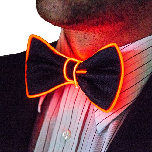 Neon Nightlife Light Up Bow Tie for Men, Red - Led Light Stick Man Costume
