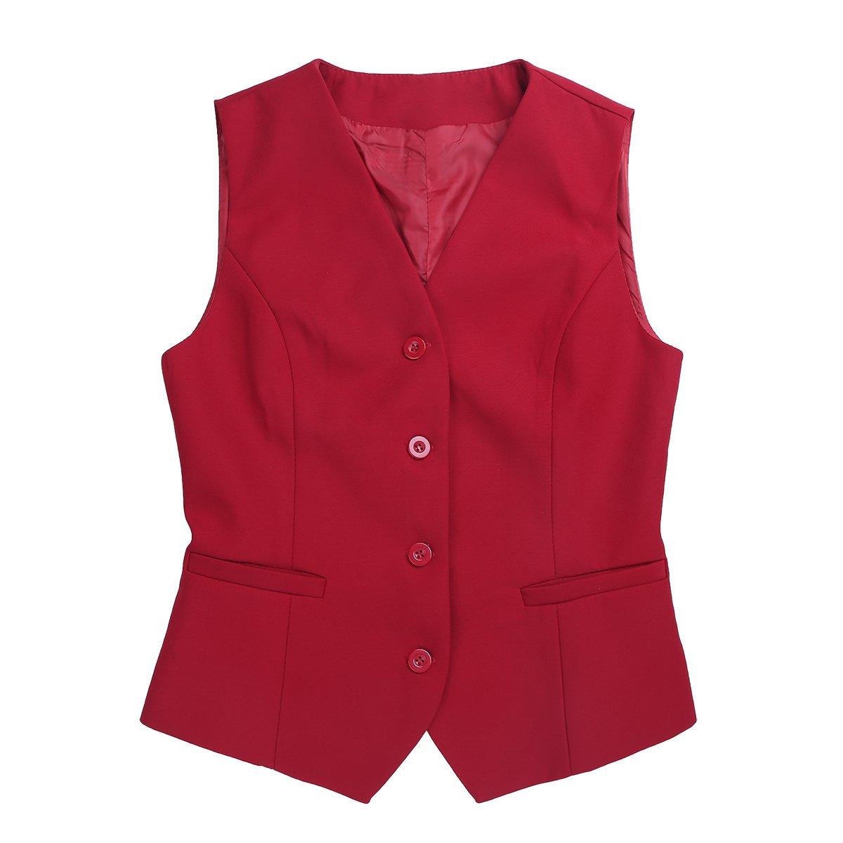 iiniim Fashion Women V-Neck Sleeveless Fully Lined Slim Fit Economy Dressy Suit Vest Waistcoat