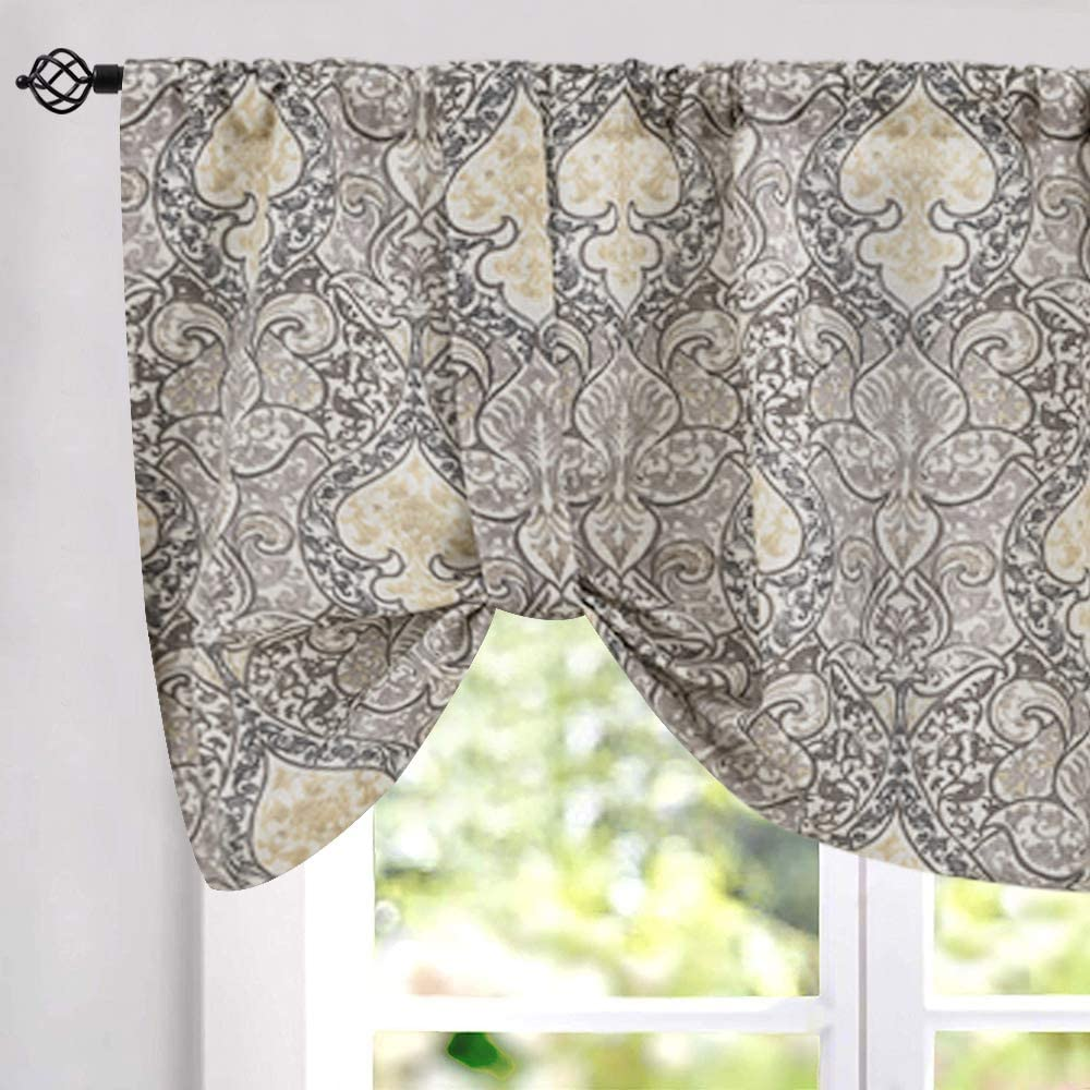 jinchan Tie Up Valances for Kitchen Windows Retro Linen Blend Damask Printed Curtains Rod Pocket for Small Windows 20 Inches Long (1 Panel, Grey)