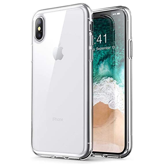 new arrival 3935e f6d65 iPhone Xs Max case, PUSHIMEI Soft TPU Crystal Transparent Slim Anti Slip  Anti-Fingerprint Full-Body Protective Phone Case Cover for Apple iPhone 10s  ...