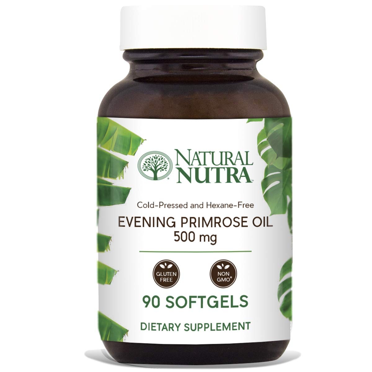 Natural Nutra Evening Primrose Oil Supplement from Fatty Acid, Non-GMO, Cold Pressed, 500 mg, 90 Softgels by Natural Nutra