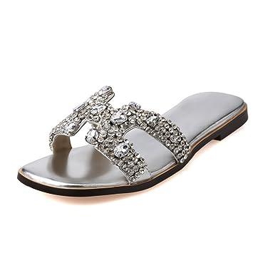 GTUFDRG Kristall Frauen Flachen Sandalen Strass Hausschuhe Flip Flops Schuhe Pantoletten Silver 12