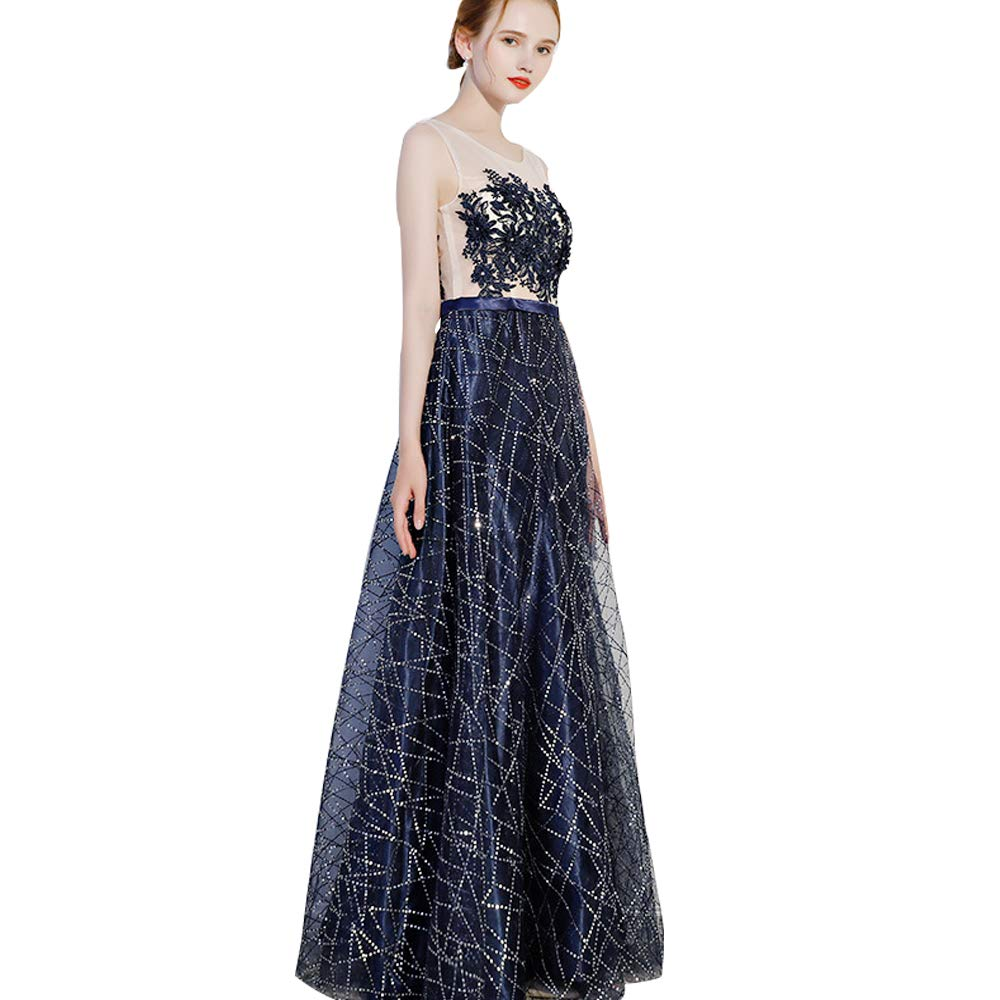 Darkbluee MINIRAH  Women's Sexy Perspective Sling Formal Floral Lace Sleeveless Cocktail Evening Party Maxi Dress