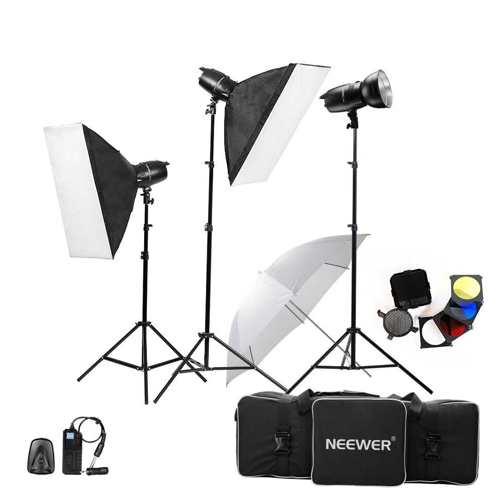 Neewer 750W(250W x 3) Professional Photography Studio Flash Strobe Light Lighting Kit for Portrait Photography,Studio and Video Shoots(EG-250B) by Neewer