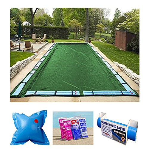 (Buffalo Blizzard Bundle for 25-Foot-by-45-Foot Rectangle In-Ground and Above-Ground Swimming Pools - Ripstopper Green Winter Cover with 5-Foot Overlap and Winter Closing Kit)
