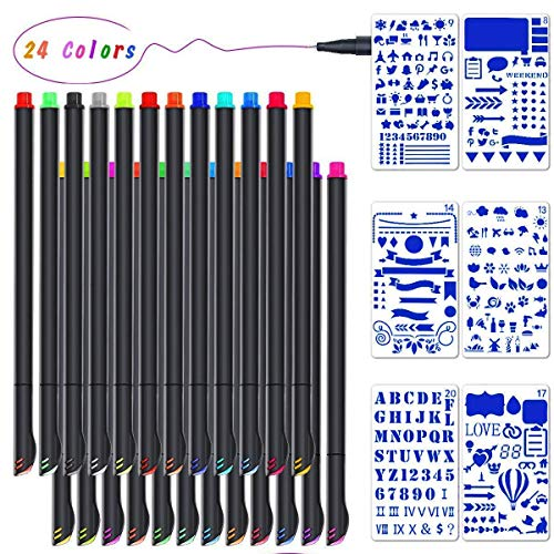 Omont Journal Planner Pens Colored Pens Fine Point Markers(24Colors), Fine Tip Drawing Pens Porous Fineliner Pen for Bullet Journaling Writing Note Taking Calendar Agenda Coloring Art Office Supplies