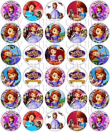 30 x Edible Cupcake Toppers - Sofia The First Themed Collection of Edible Cake Decorations | Uncut Edible Prints on Wafer -