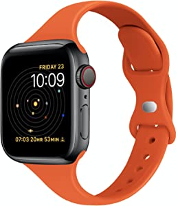 STG Sport Band Compatible with Apple Watch 38mm 40mm 42mm 44mm, Soft Silicone Slim Thin Narrow Replacement Strap Compatible for iWatch SE Series 6/5/4/3/2/1 (Orange, 38/40mm)