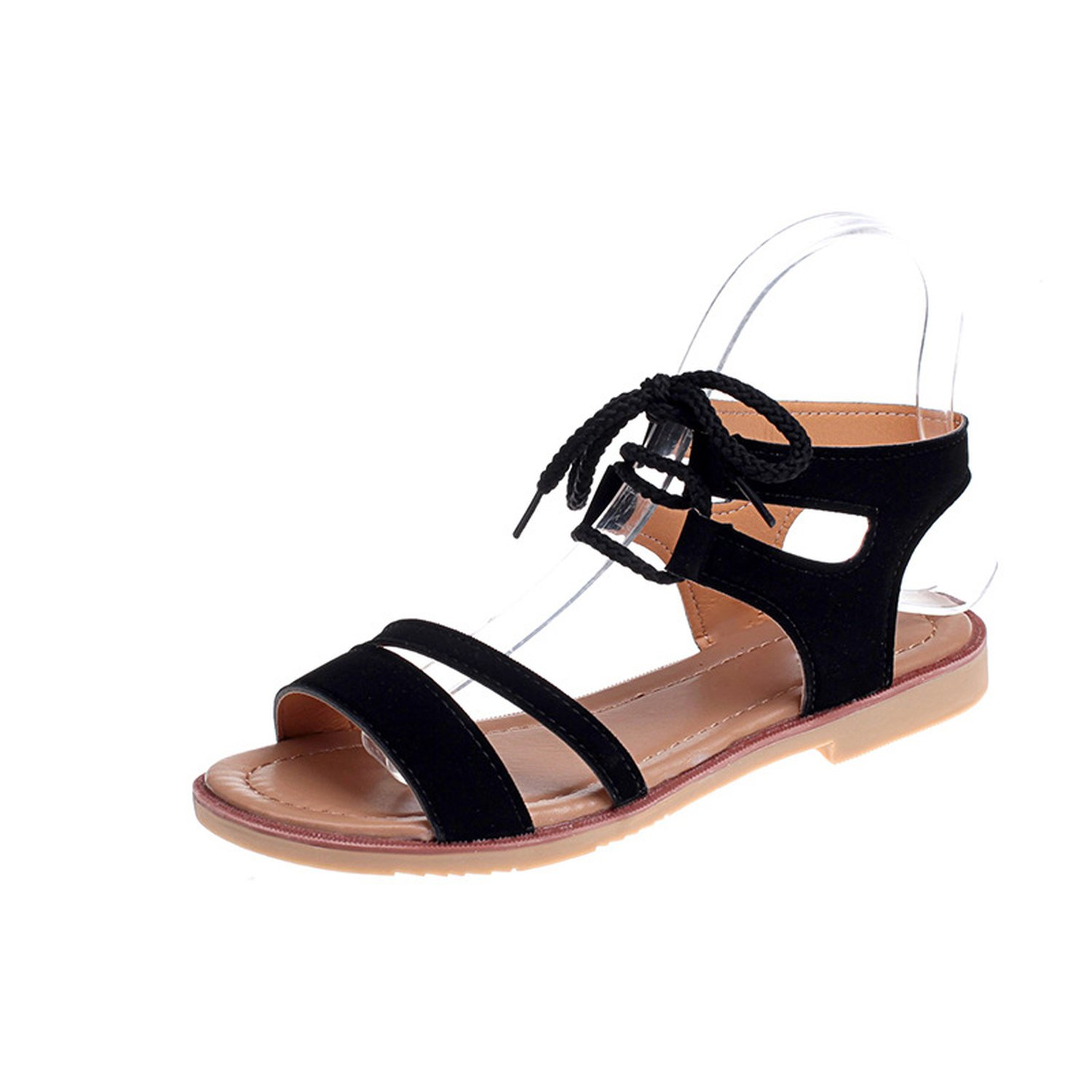 Womens Shoes Sandals 2018 a Hairpin Flat Round Head Round Sandals Sandals 2018 Summer,Black,35