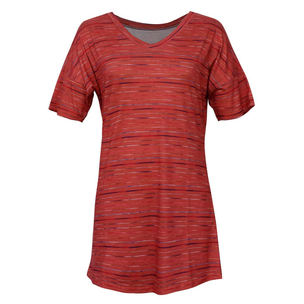 Short Sleeve Tee Blouse for Women,Amiley Women Stripes Short Sleeve T Shirts Colorful V Neck Casual Tops Blouse (X-Large, Red) by Amiley Womens Short Sleeve Tops (Image #4)