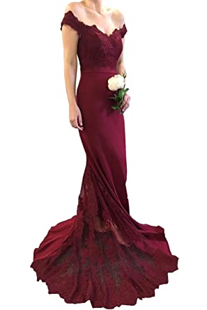 Siaoryne Burgundy Lace Fitted Prom Dress Long Bridesmaid Women Evening Party Gown 18W