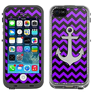 Skin Decal for LifeProof Apple iPhone 5C Case - Anchor on Chevron Zig Zag Purple Black