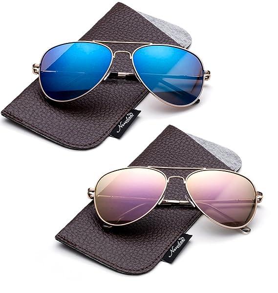 76849b3311a Newbee Fashion-Polarized Kids Teens Juniors Aviator Polarized Sunglasses  Stainless Steel Frame Spring Hinge Kids