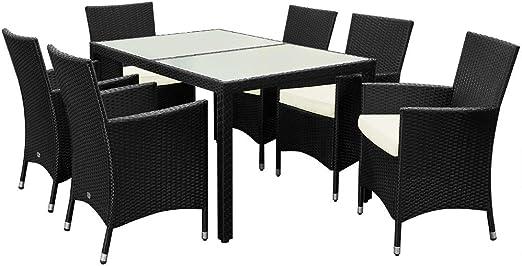 Poly Ratán muebles de jardín mesa de comedor y sillas Set – – Juego de 6 + 1