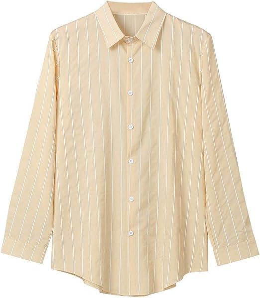 ღLILICATღ Blusa de Hombre Rayas Manga Larga Hombre Grande Tamaño Casual Algodón de Bambú Top Cómodo y Transpirable de Camisa de Solapa Primavera Manga Larga para Hombre Camisetas de Hombre: Amazon.es: Jardín