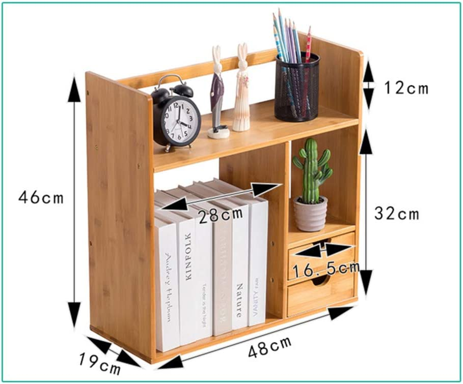 Desktop Shelf,Adjustable Expandable Bamboo Desk Organizer Shelf for Home Office Bookshelf Accessories Desktop Organizer-e 48x19x46cm(19x7x18inch)