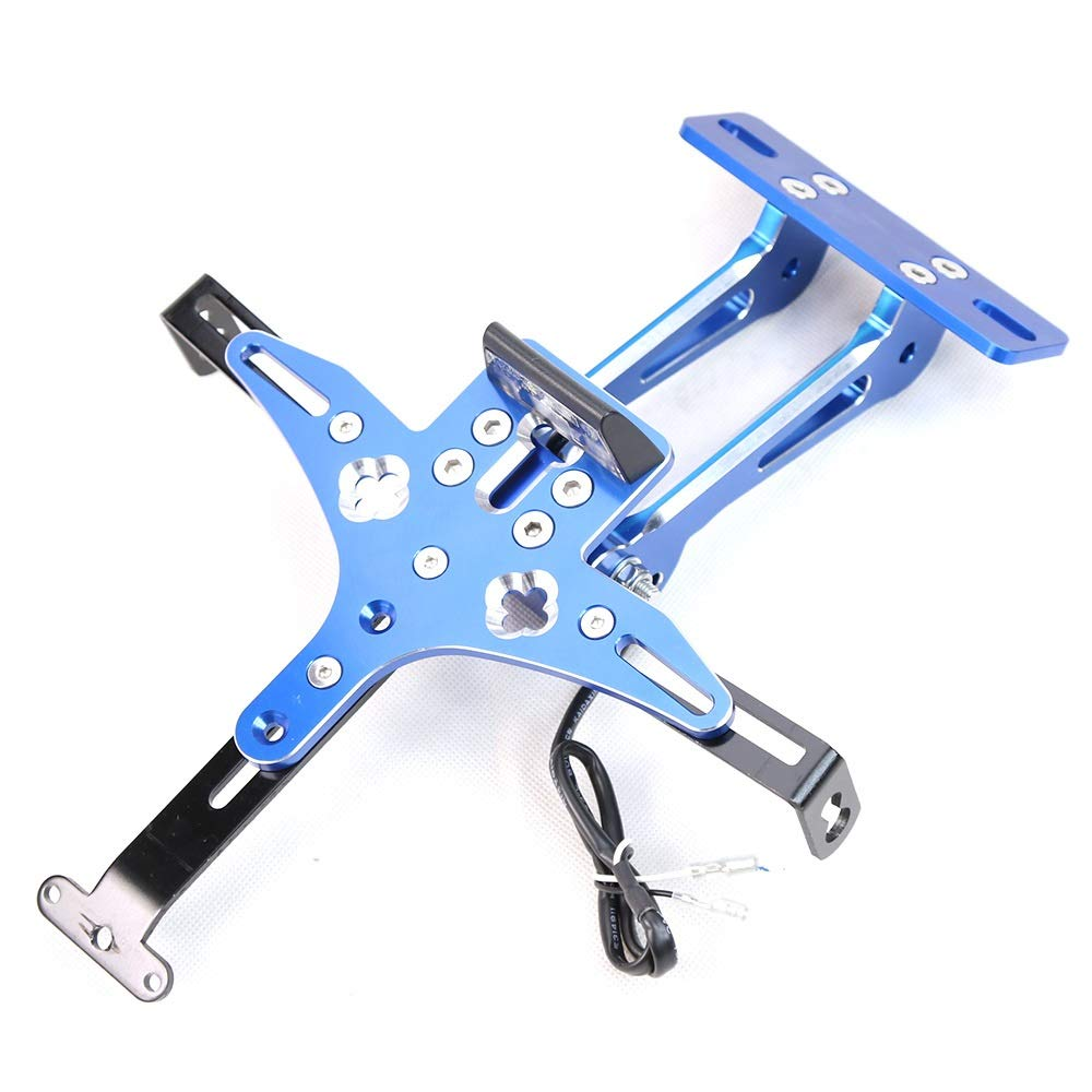 CONGCASE for Yamaha Scooter Universal Aluminum Alloy Adjustable Card Frame Yamaha License Plate Frame CNC Conversion Accessories (Color : Blue)