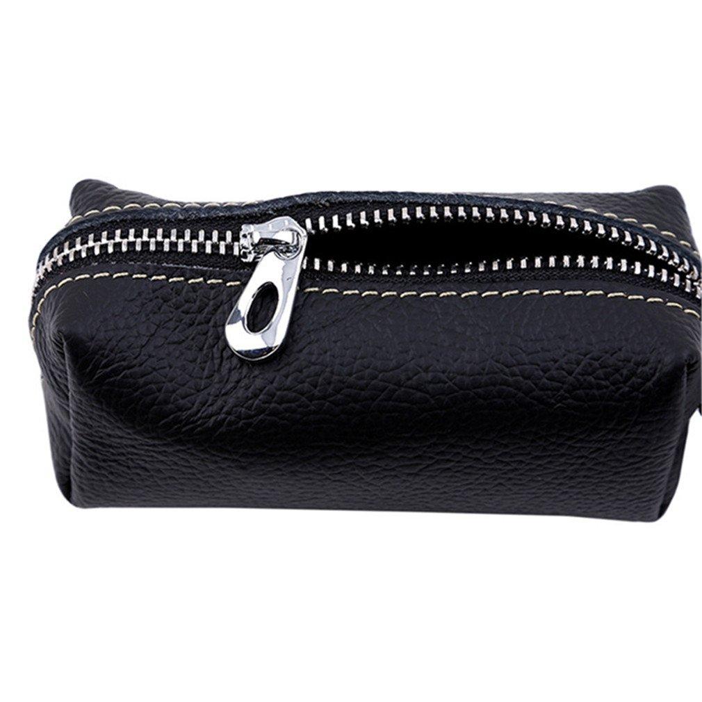 EH-LIFE Fashion Genuine Leather Housekeeper Small Key Holder Hasp Mens Key Chain Wallet Keys Holder Portable Organizer Brown