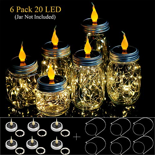 Sunlane 6 Pack Solar Mason Jar Lights with Candle Flame Top-6 Handles Included, 20 Led String Fairy Firefly Lights Lids Insert for Regular Mouth Jars, Mason Jar,Patio,Lawn,Garden Decor Warm White]()