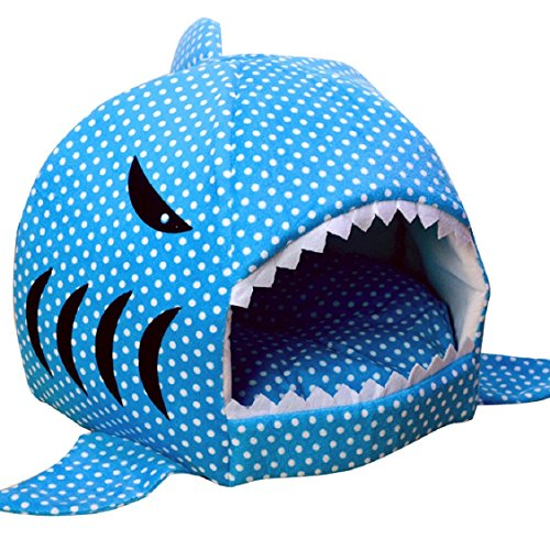 Egmy Fashion Pet Products Shark Warm Washable Cushion Mat Dog Cat House Bed Pet Basket House Pad Tent Bed (L,