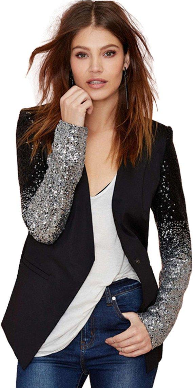 Sequin Shiny Glitter Sparkle Gradient Color Black Silver One-Button Blazer Suit Top XL