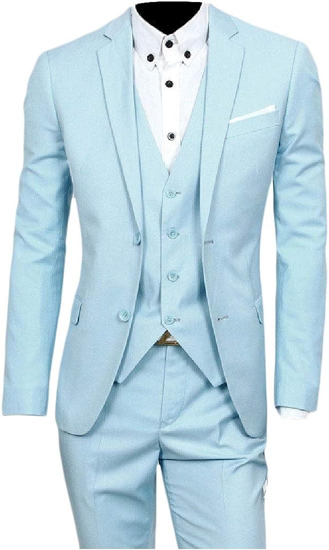 Nicelly Mens Lapel Vest 3 Pieces Business Pant Suit Jacket Blazer