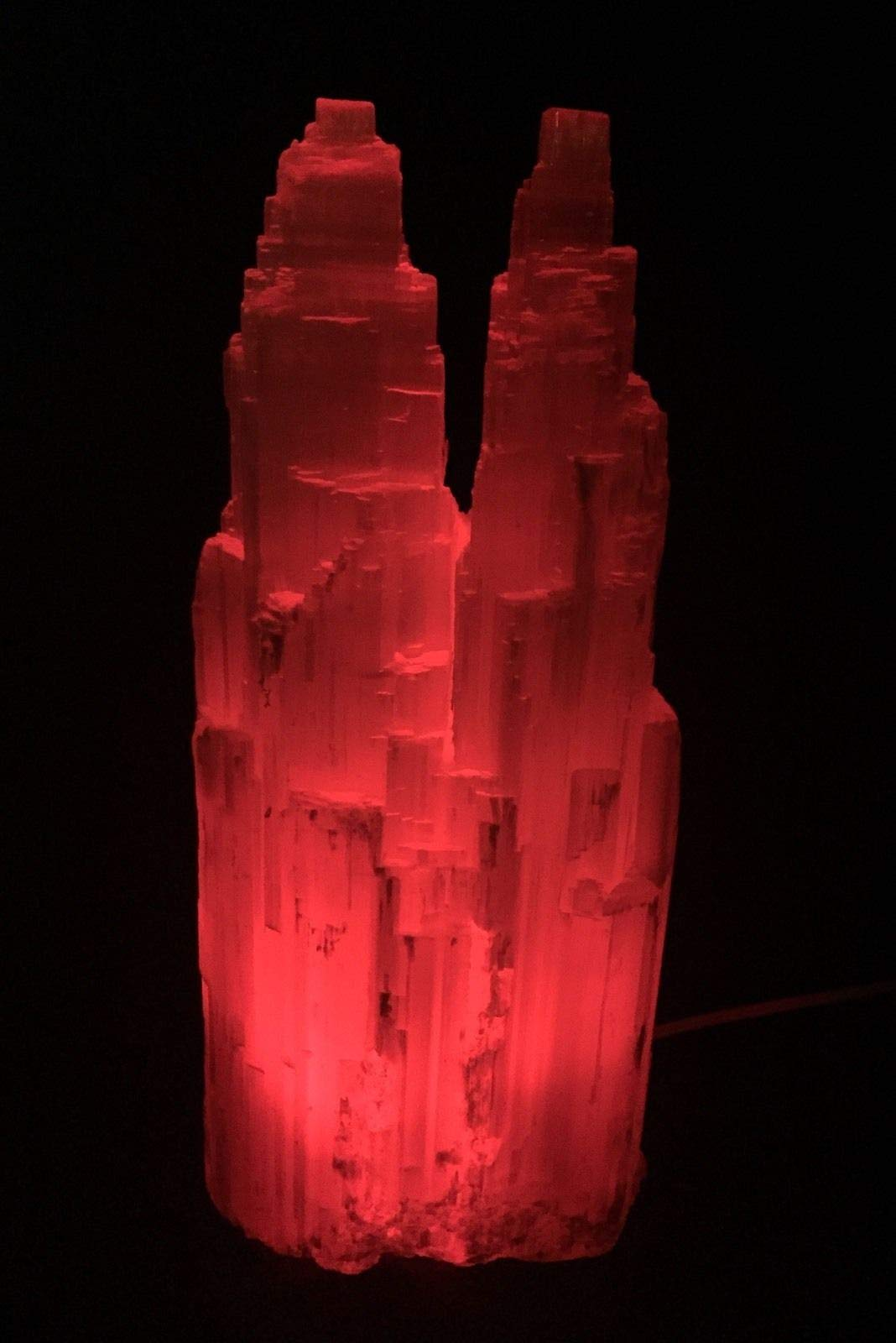 Large Selenite Lamp W/Cord Red LED Bulb Selenite Crystal Tower Two Point Double.Natural Crystals & Rocks for Cabbing, Cutting, Lapidary, Tumbling, Polishing, Wire Wrapping, Wicca by JumpingLight (Image #2)