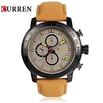 cuero prueba de agua Curren deporte de los hombres originales de la correa de muñeca buena calidad 8190 Beige de Brown: Amazon.es: Relojes