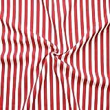 Modestoff Dekostoff universal Streifen Stoff Meterware Mitttel Rot-Weiss