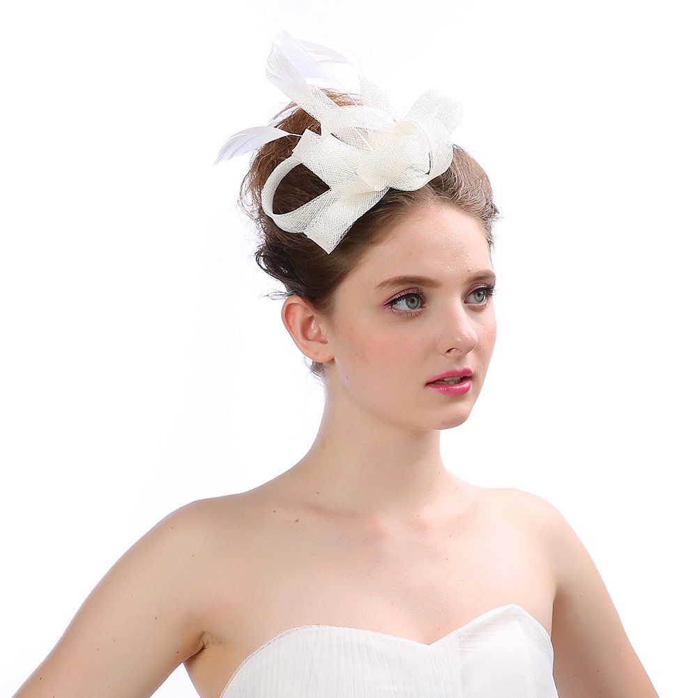 Women's Vintage Fascinators Hat Flower with Clip for Wedding Bridal Headware Church Cocktail Party Headdress by Hoxekle (Image #4)